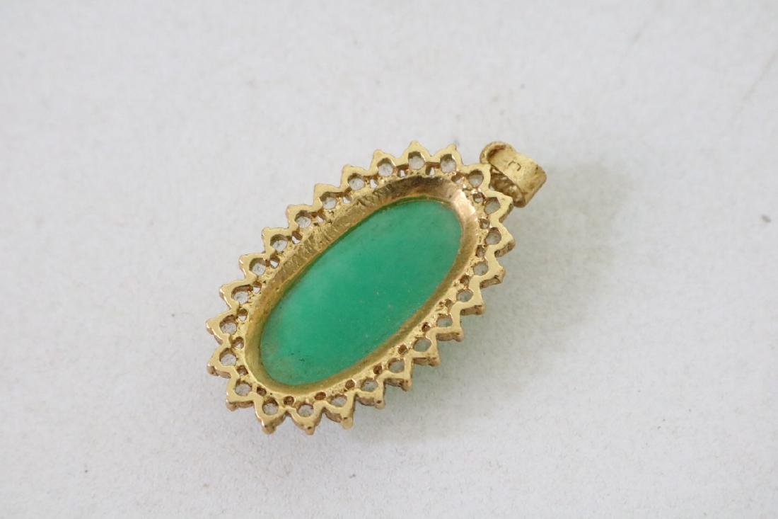 3 Vintage Asian gold and green stone pendants with - 4