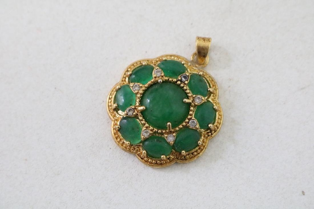 3 Vintage Asian gold and green stone pendants with - 7
