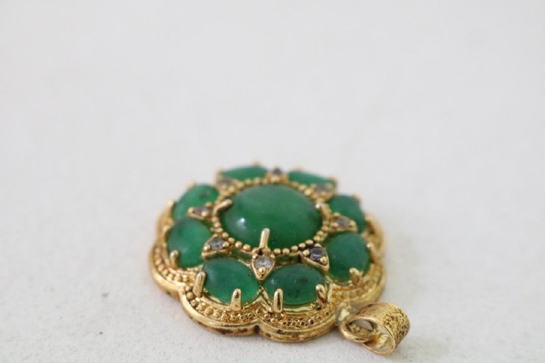3 Vintage Asian gold and green stone pendants with - 8