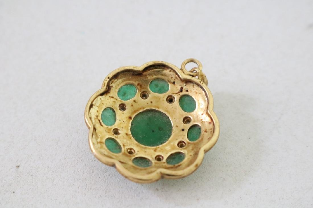 3 Vintage Asian gold and green stone pendants with - 9