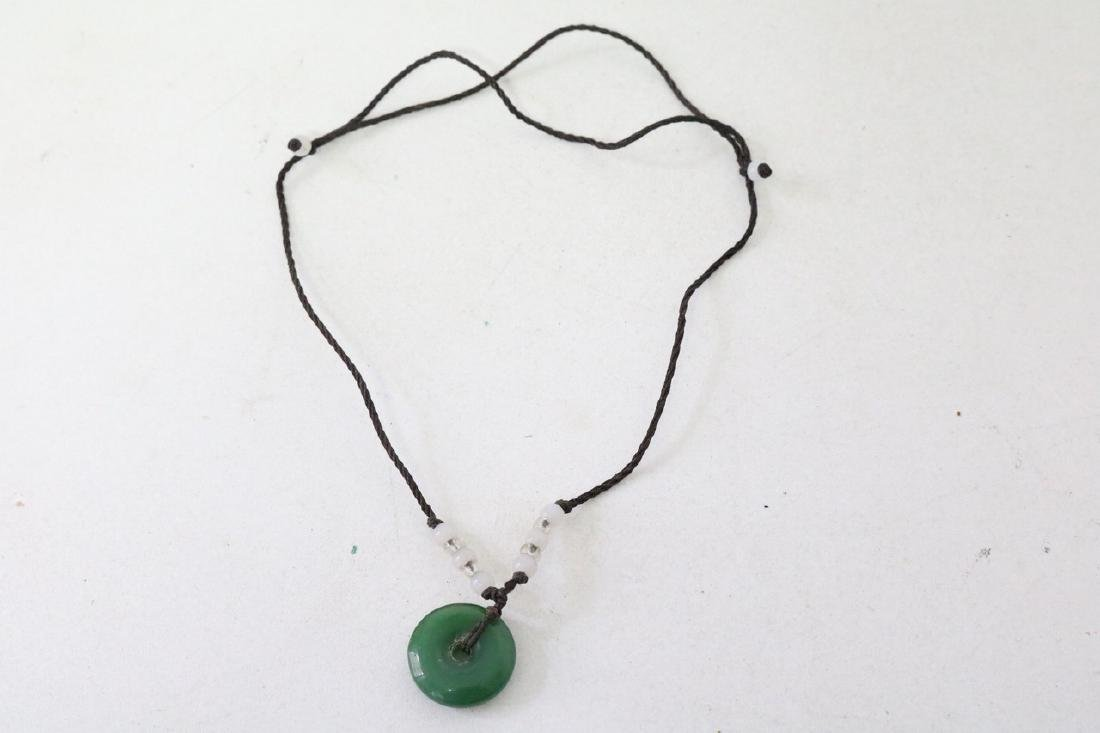 Asian Adjustable rope necklace w/jade pendant and beads