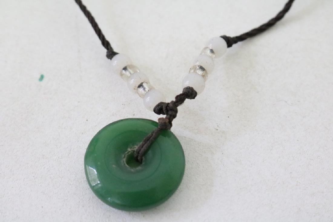 Asian Adjustable rope necklace w/jade pendant and beads - 2