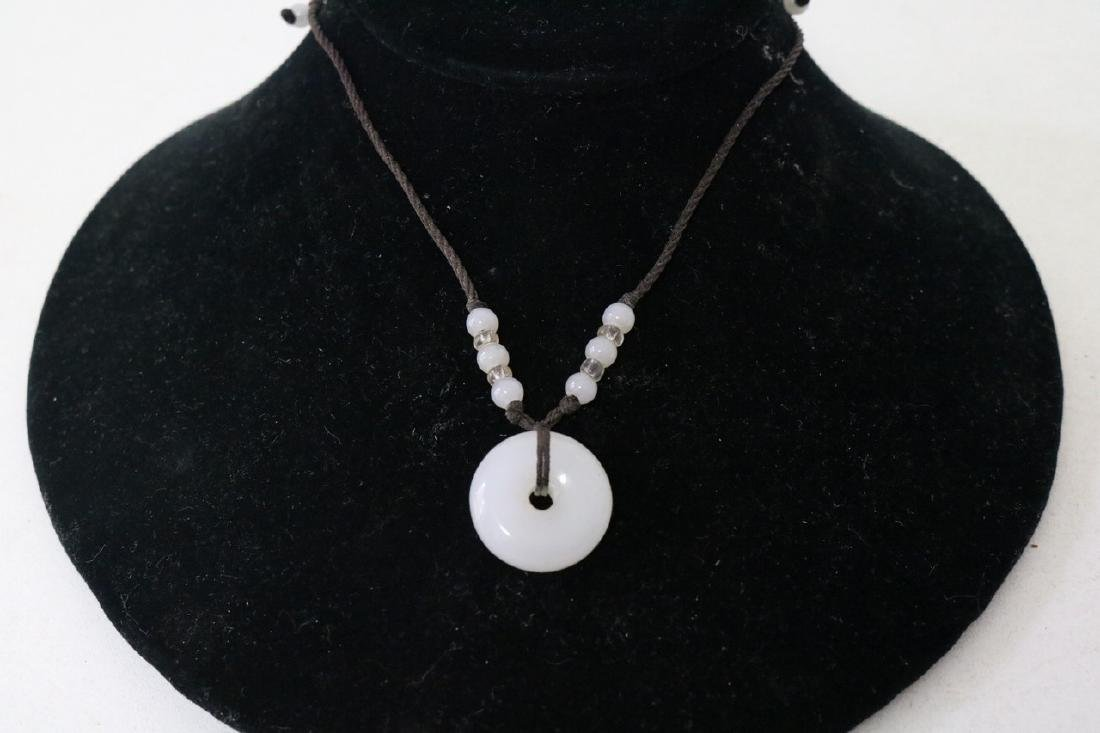 Aisan Adjustable rope necklace w/white jade and beads