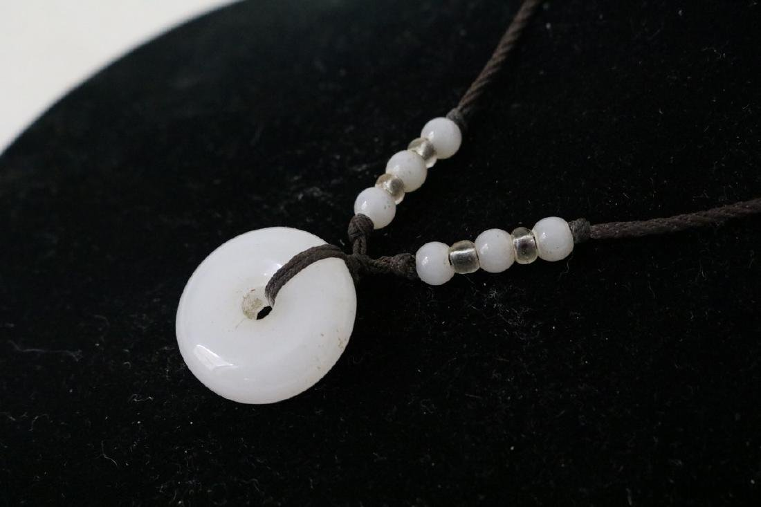 Aisan Adjustable rope necklace w/white jade and beads - 2