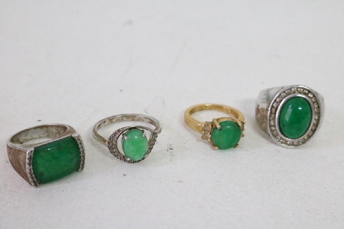 4 Gold and silver Jade Rings