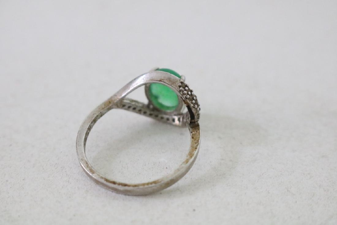 4 Gold and silver Jade Rings - 7