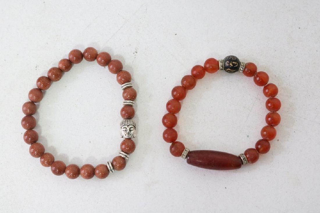 2 Vintage Asian Brown Beaded Bracelets