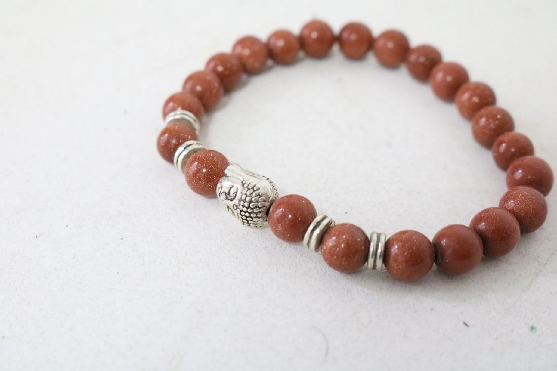 2 Vintage Asian Brown Beaded Bracelets - 2