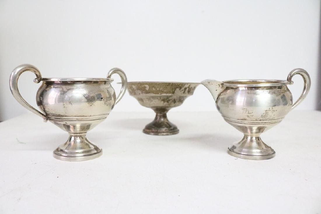 weighted sterling silver compote, sugar & Creamer