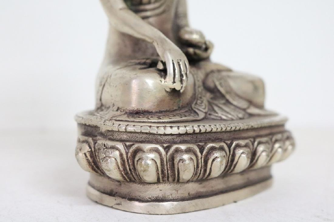 Chinese Silver Buddha w/ floral stamp on bottom - 3