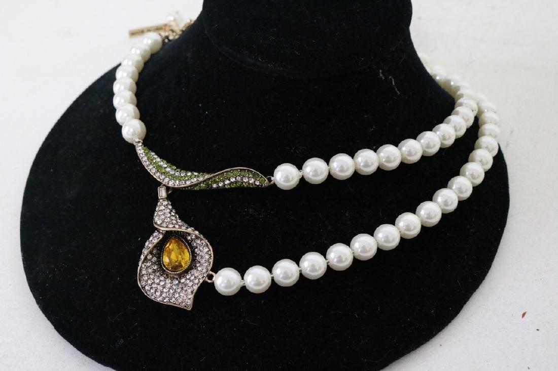 Oscar De La Renta Runaway Flower Lily Pearl Necklace