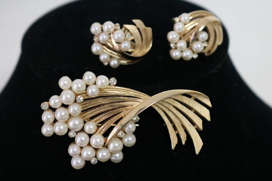 Crown Trifari Pearl Brooch and Earring Set