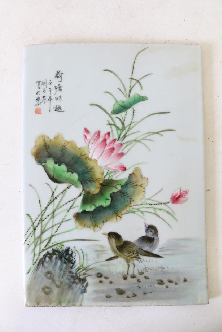 Chinese Porcelian Hand Painted Tile, Signed & Red Stamp