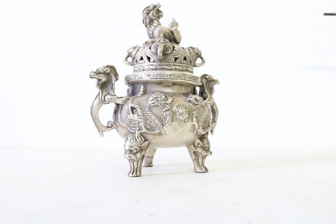 Asian Censor, 3 Leg in Silver, with Foo Dogs
