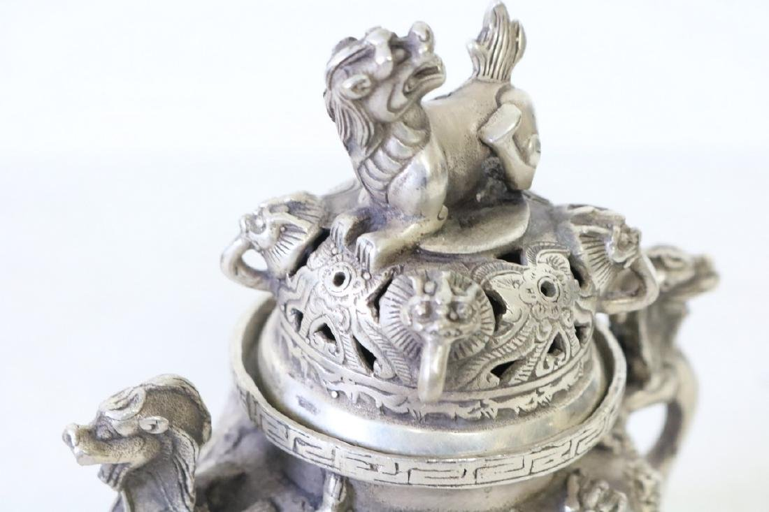Asian Censor, 3 Leg in Silver, with Foo Dogs - 2