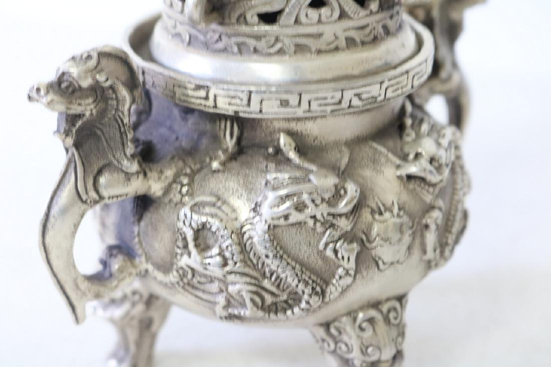 Asian Censor, 3 Leg in Silver, with Foo Dogs - 4