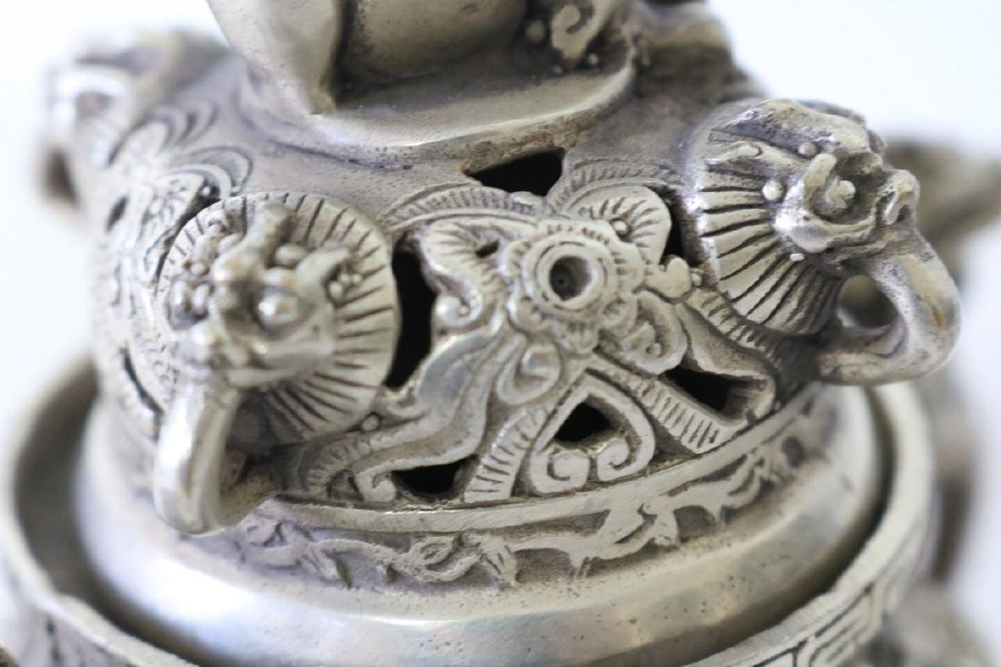 Asian Censor, 3 Leg in Silver, with Foo Dogs - 5