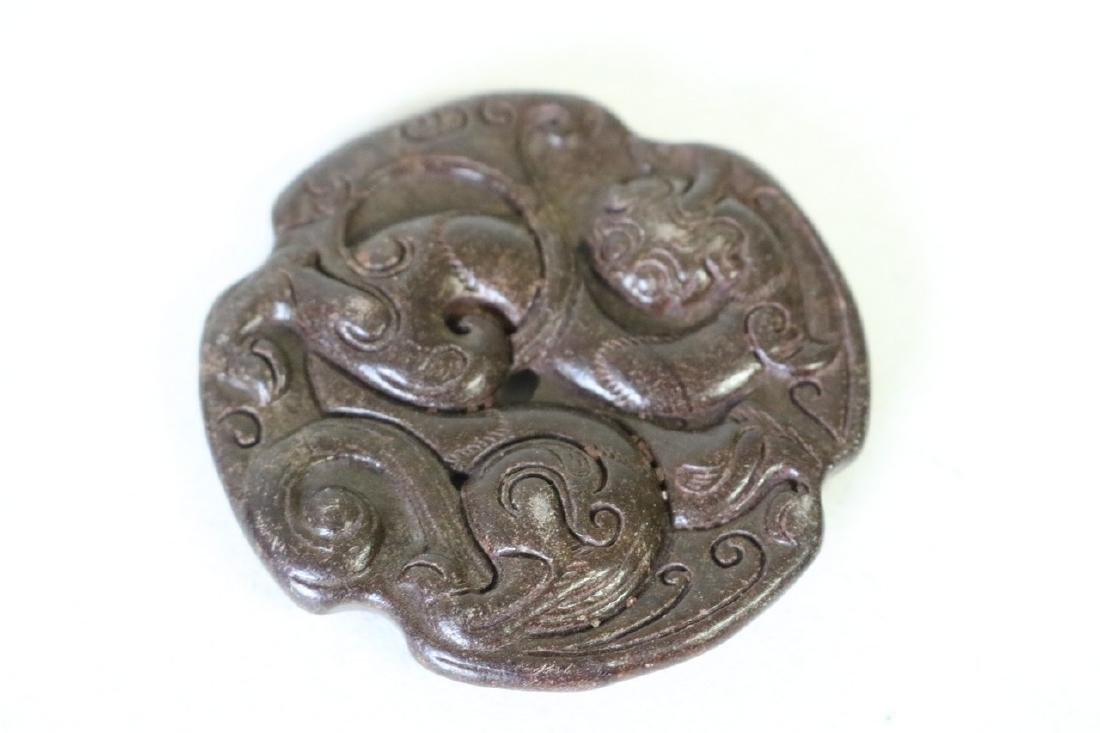 Vintage Asian Carved Stone Pendant - 3