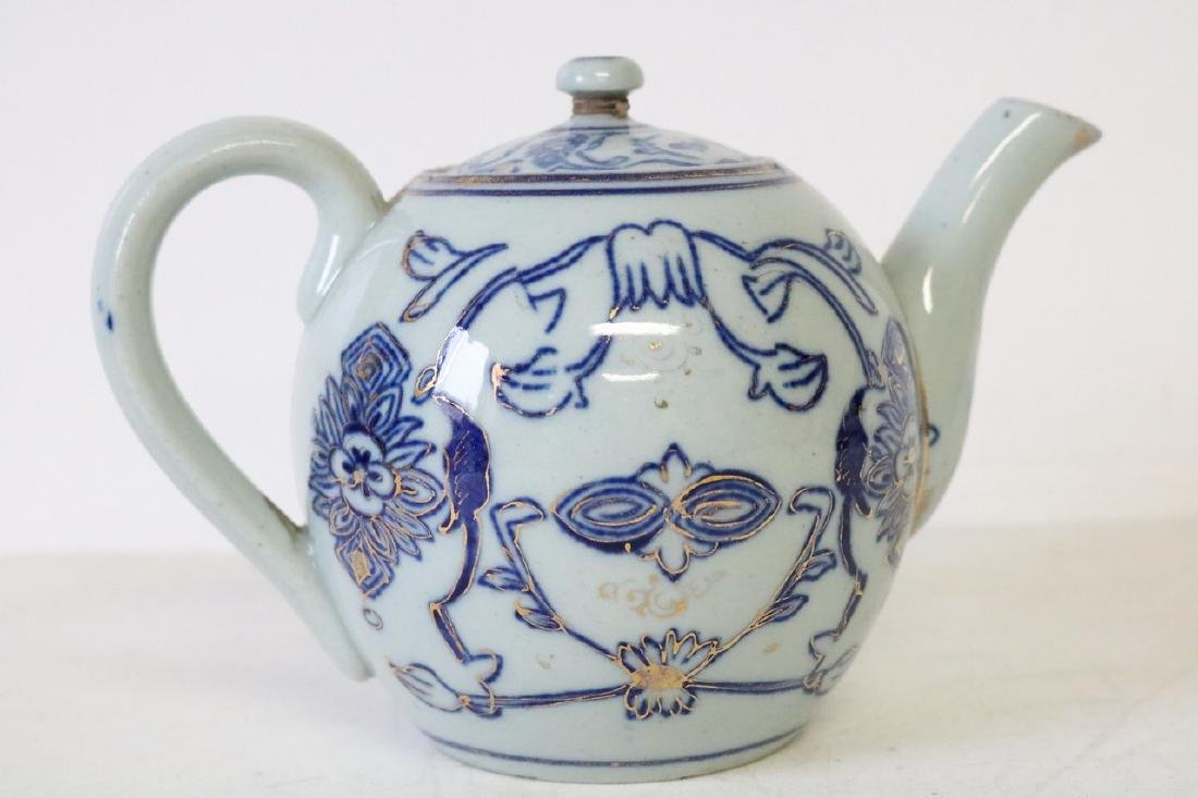 Oriental Blue and Gold Teapot