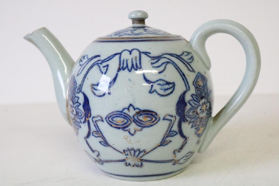 Oriental Blue and Gold Teapot - 2