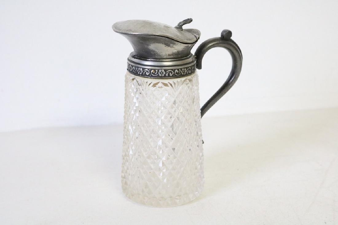 Antique Victorian Cut Cyrstal and Silver Pitcher