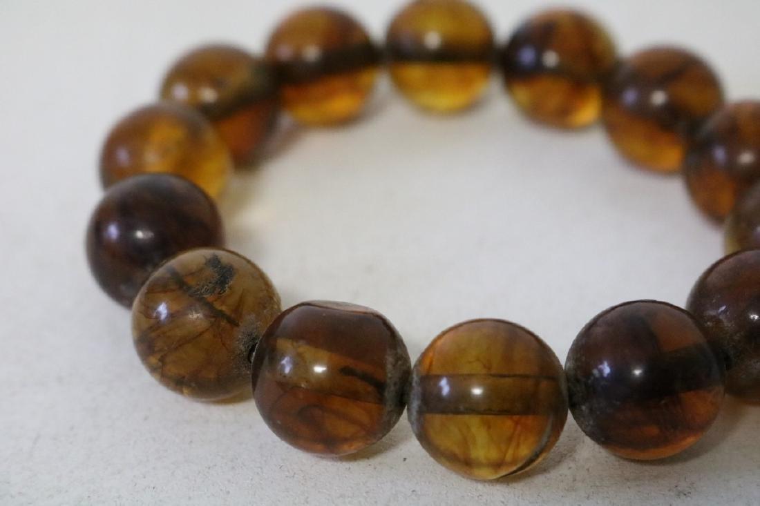 Amber Colored Beaded Bracelet - 2