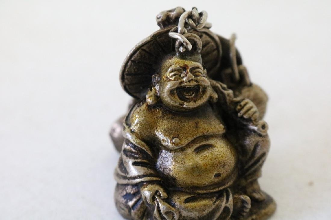 Carved Brass Buddha Pendant with Bells - 2