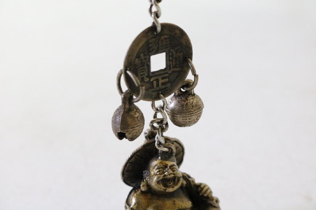 Carved Brass Buddha Pendant with Bells - 3