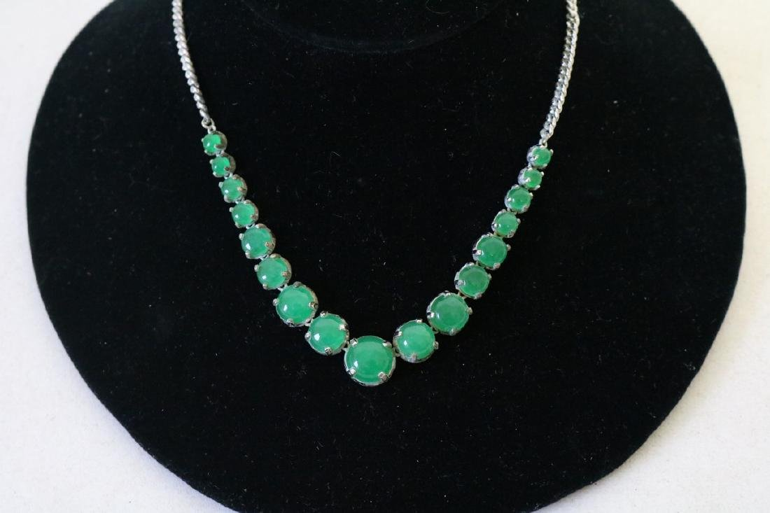 Jade Necklace with Silver Tone Chian