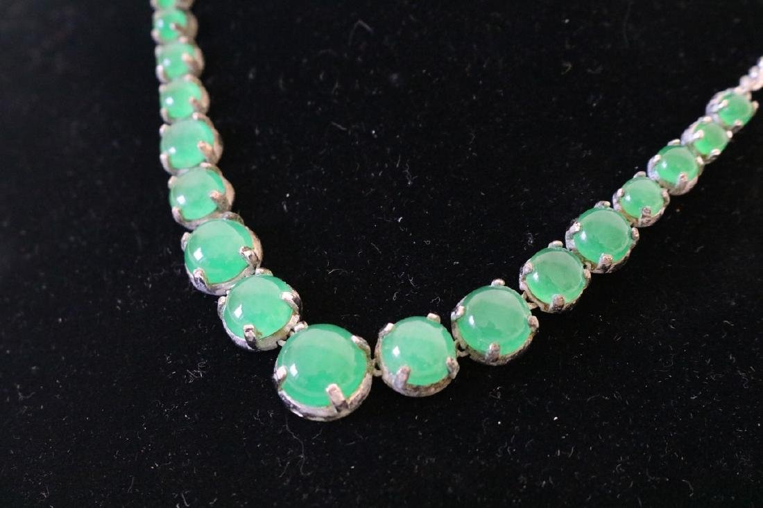 Jade Necklace with Silver Tone Chian - 2