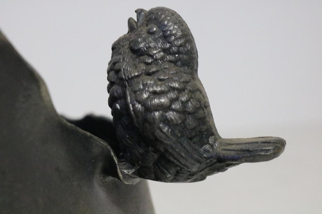 Victorian Silverplate Handle Basket w/bird - 2