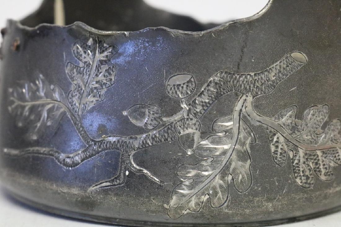 Victorian Silverplate Handle Basket w/bird - 3