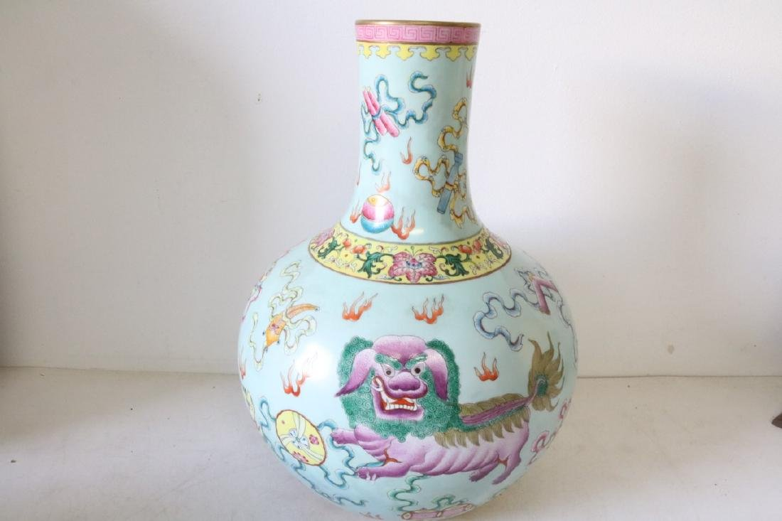 Large Asian Vase with Dragons, Signed