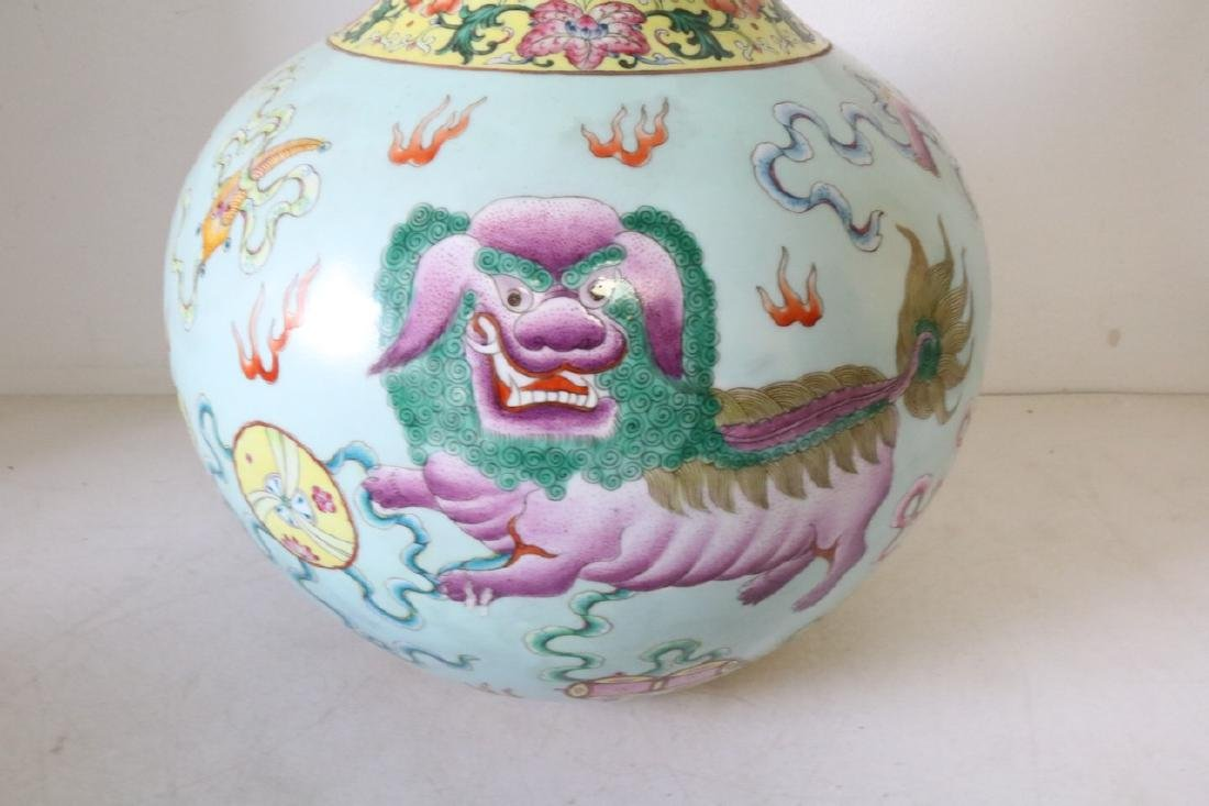 Large Asian Vase with Dragons, Signed - 2