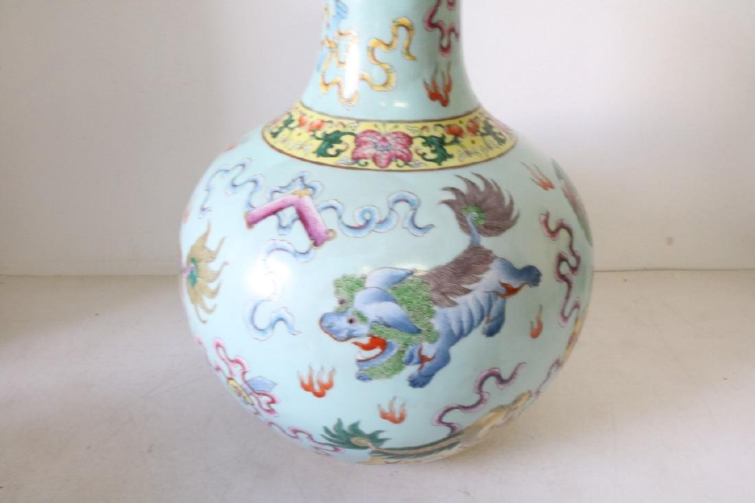 Large Asian Vase with Dragons, Signed - 3