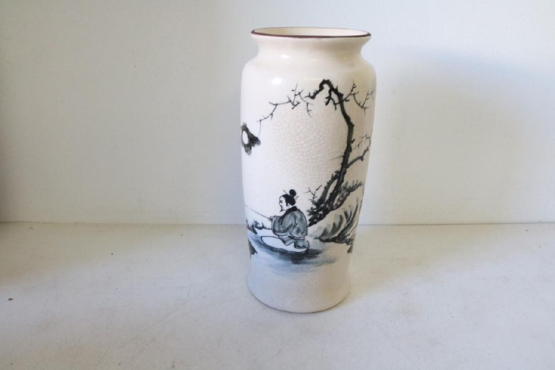 Hand Painted Asian Vase with Fisherman