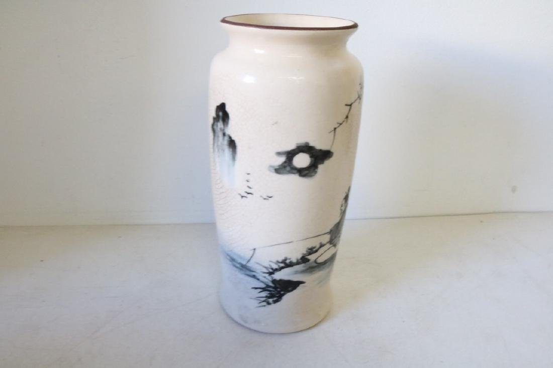 Hand Painted Asian Vase with Fisherman - 2