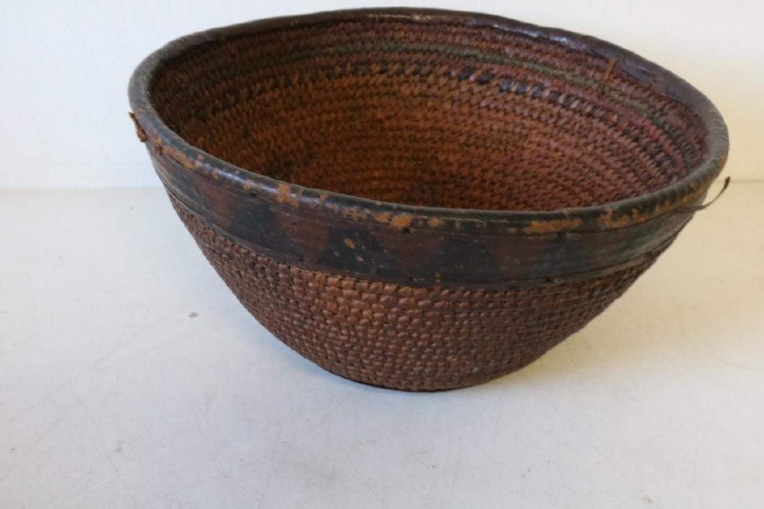 Antique African Coil Basket with Leather Trim