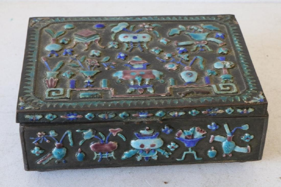 Antique Chinese Brass Enamel Box
