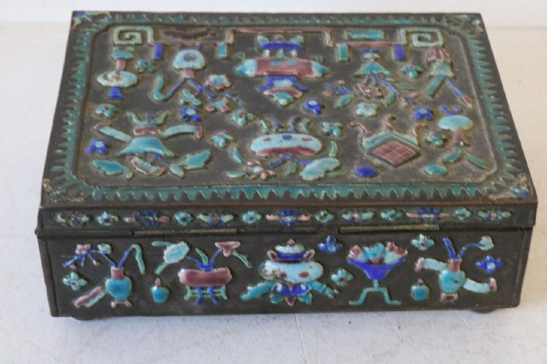 Antique Chinese Brass Enamel Box - 3