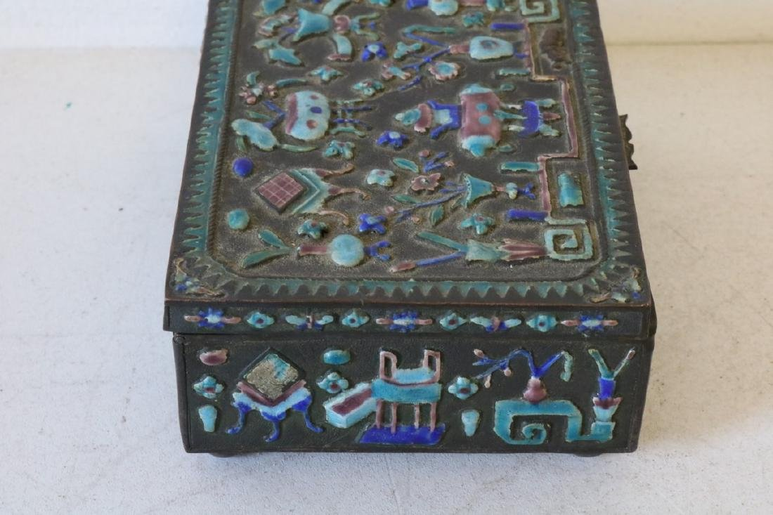 Antique Chinese Brass Enamel Box - 4