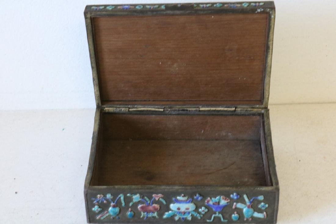 Antique Chinese Brass Enamel Box - 5