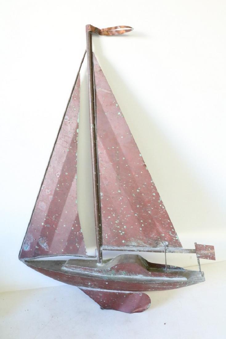 Copper Sail Boat Weather Vane