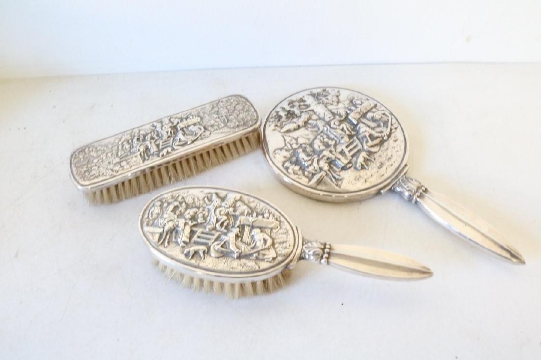 Denmark Repousse Silver 2 Brush & Mirror