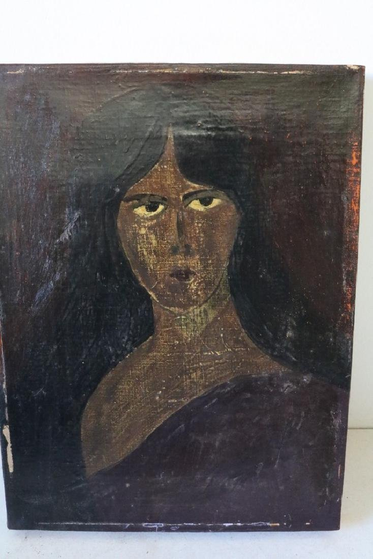 Primative oil on Canvas of Woman