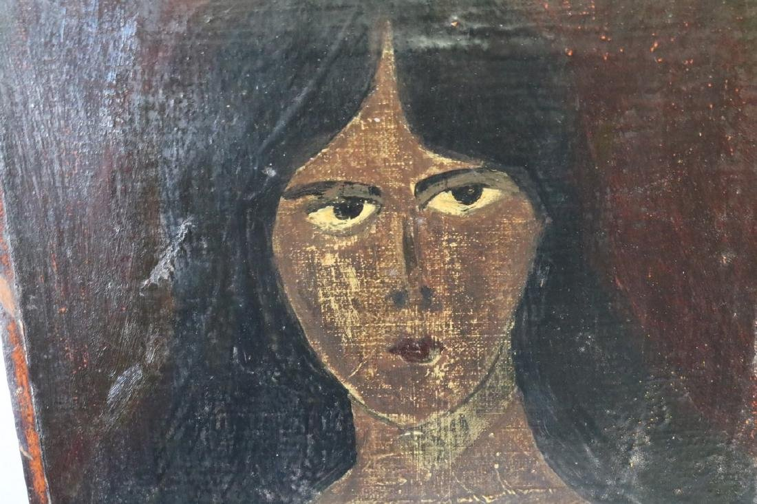 Primative oil on Canvas of Woman - 2
