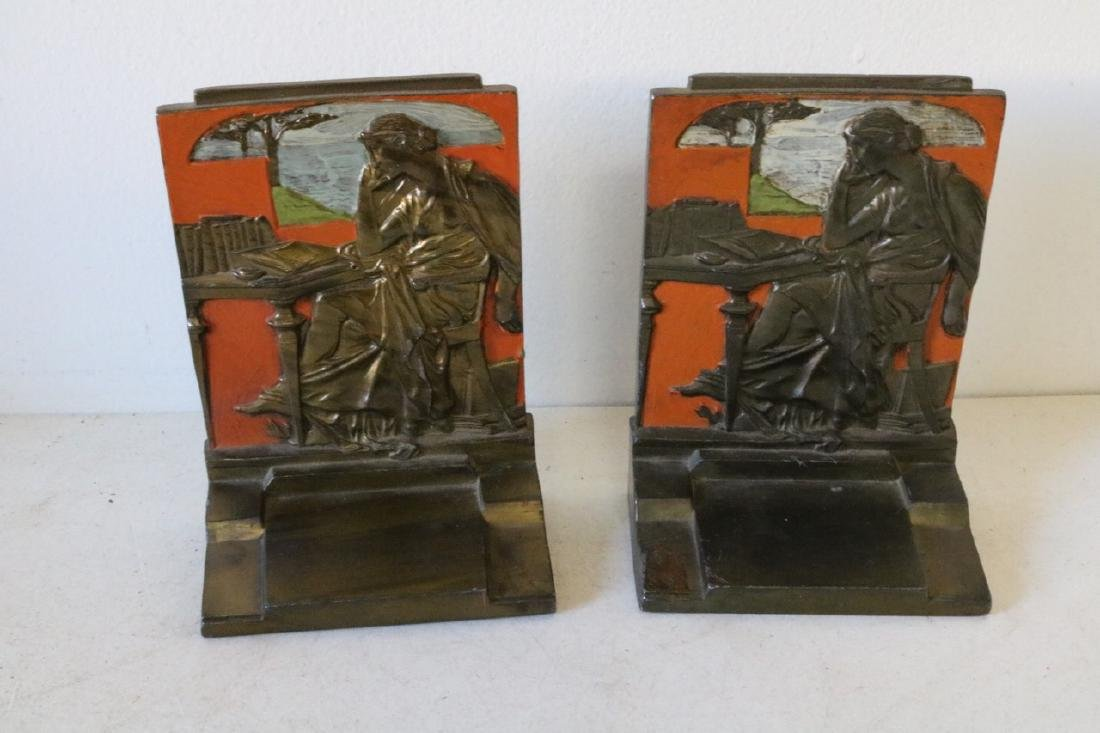 """Pair of 1925 """"Knowledge"""" Bronze Bookends"""