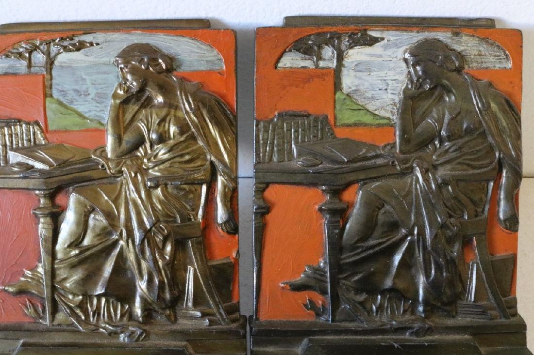 """Pair of 1925 """"Knowledge"""" Bronze Bookends - 2"""