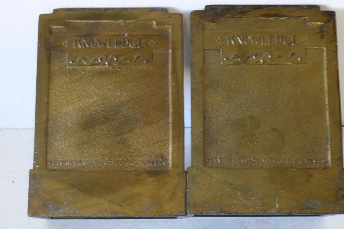 """Pair of 1925 """"Knowledge"""" Bronze Bookends - 4"""