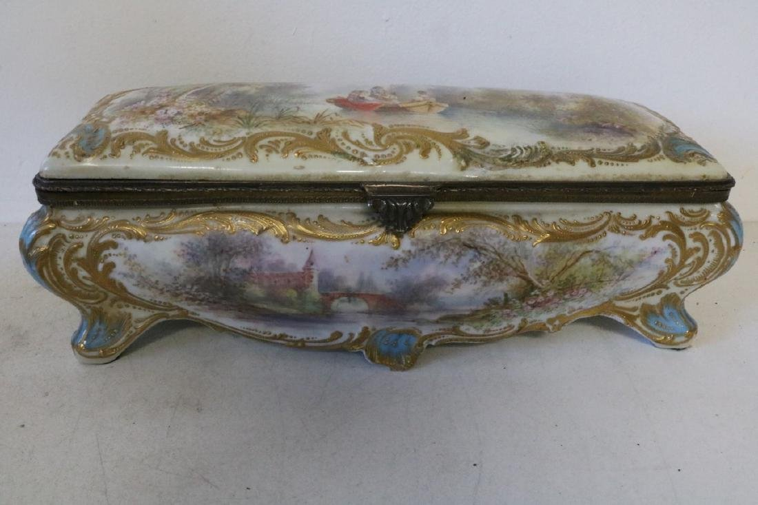 French Sevres porcelain hand painted Dresser Box